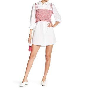 English Factory Smocked Gingham Twofer Shirt Dress